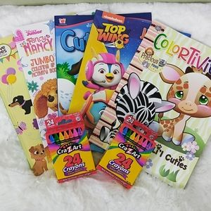 5 Children's Coloring Books + 2 Boxes of Crayons
